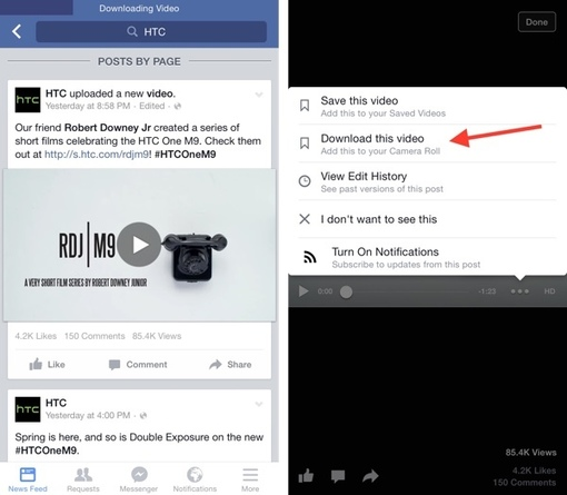 how to download videos from facebook to iphone 8