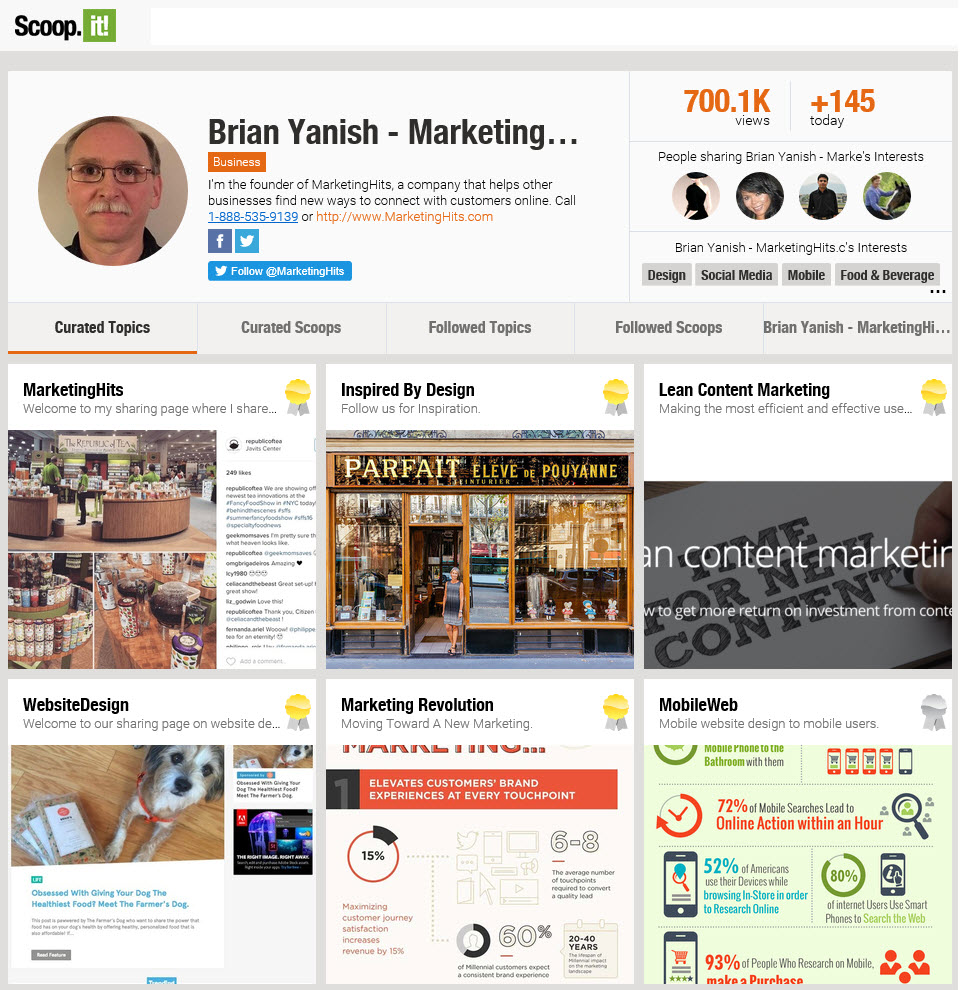 Brian Yanish Marketinghits Content Curation Scoopit